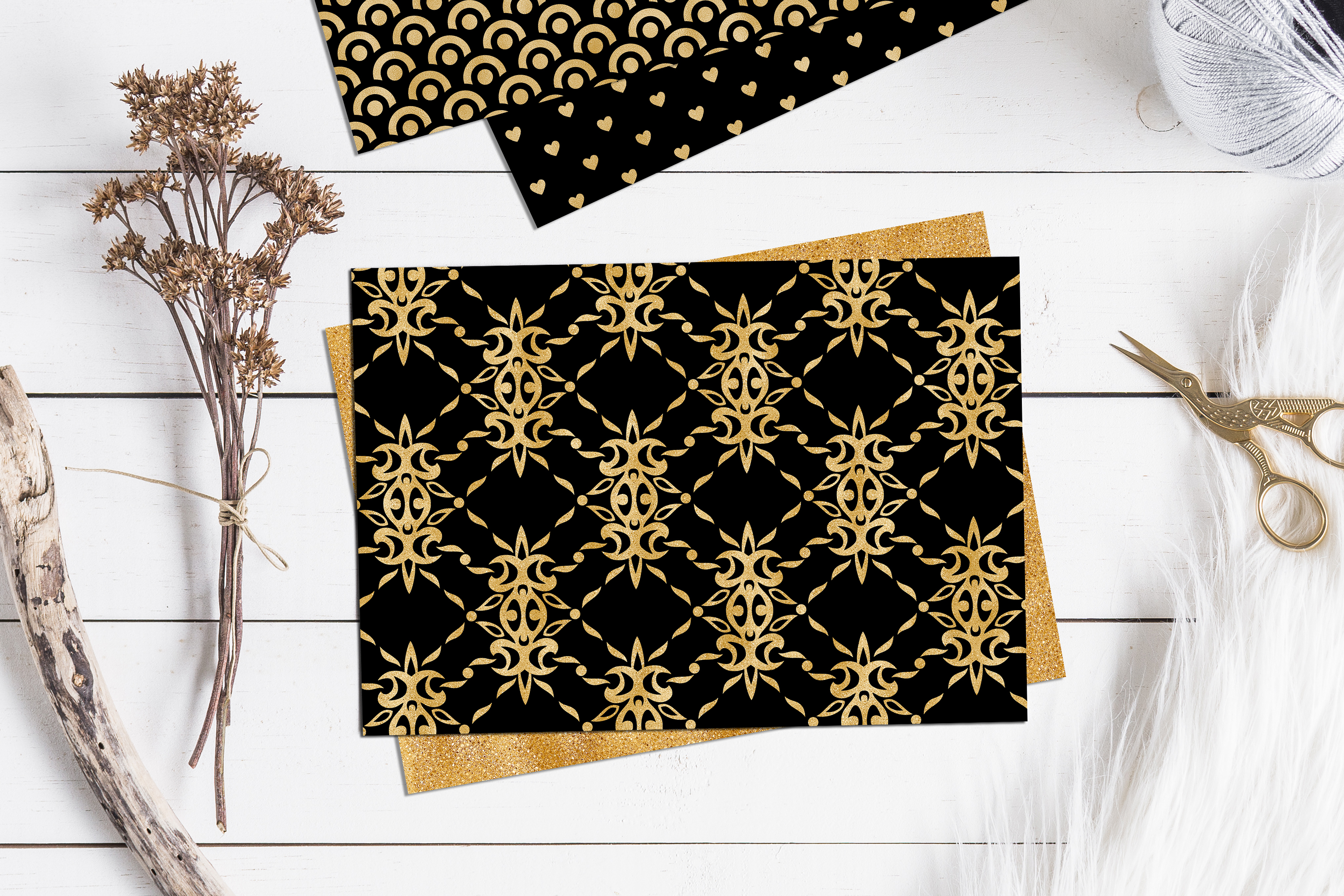 Black and Gold Seamless Papers - Damask & Geometric Patterns example image 2