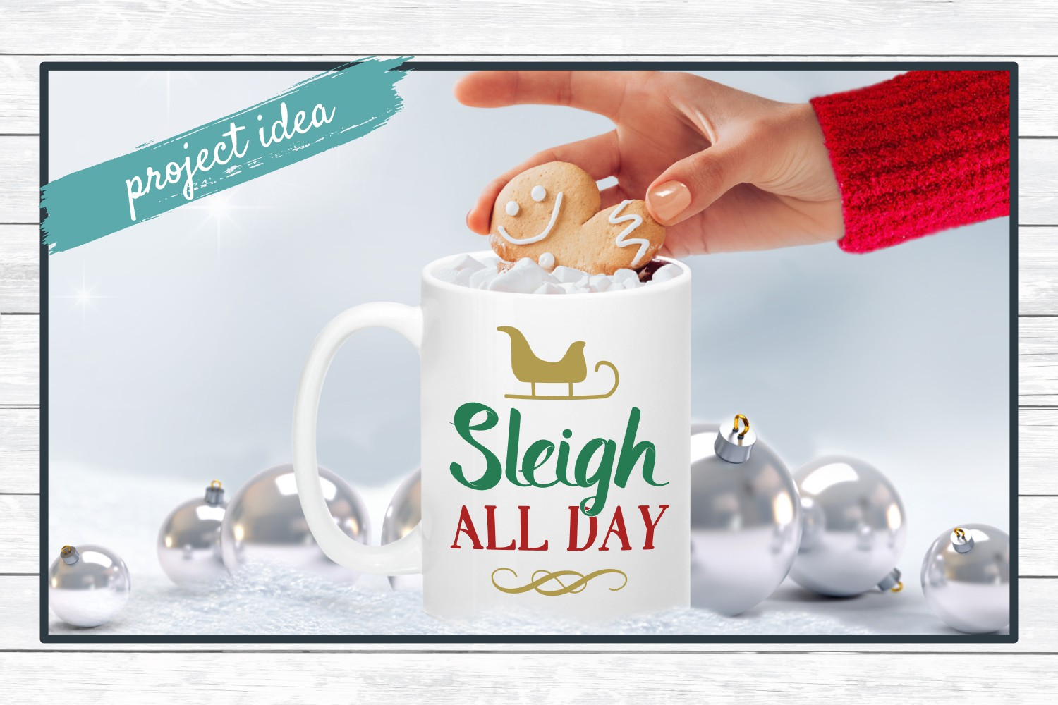 Sleigh All Day, Christmas Holiday SVG Cut File for Crafters example image 2
