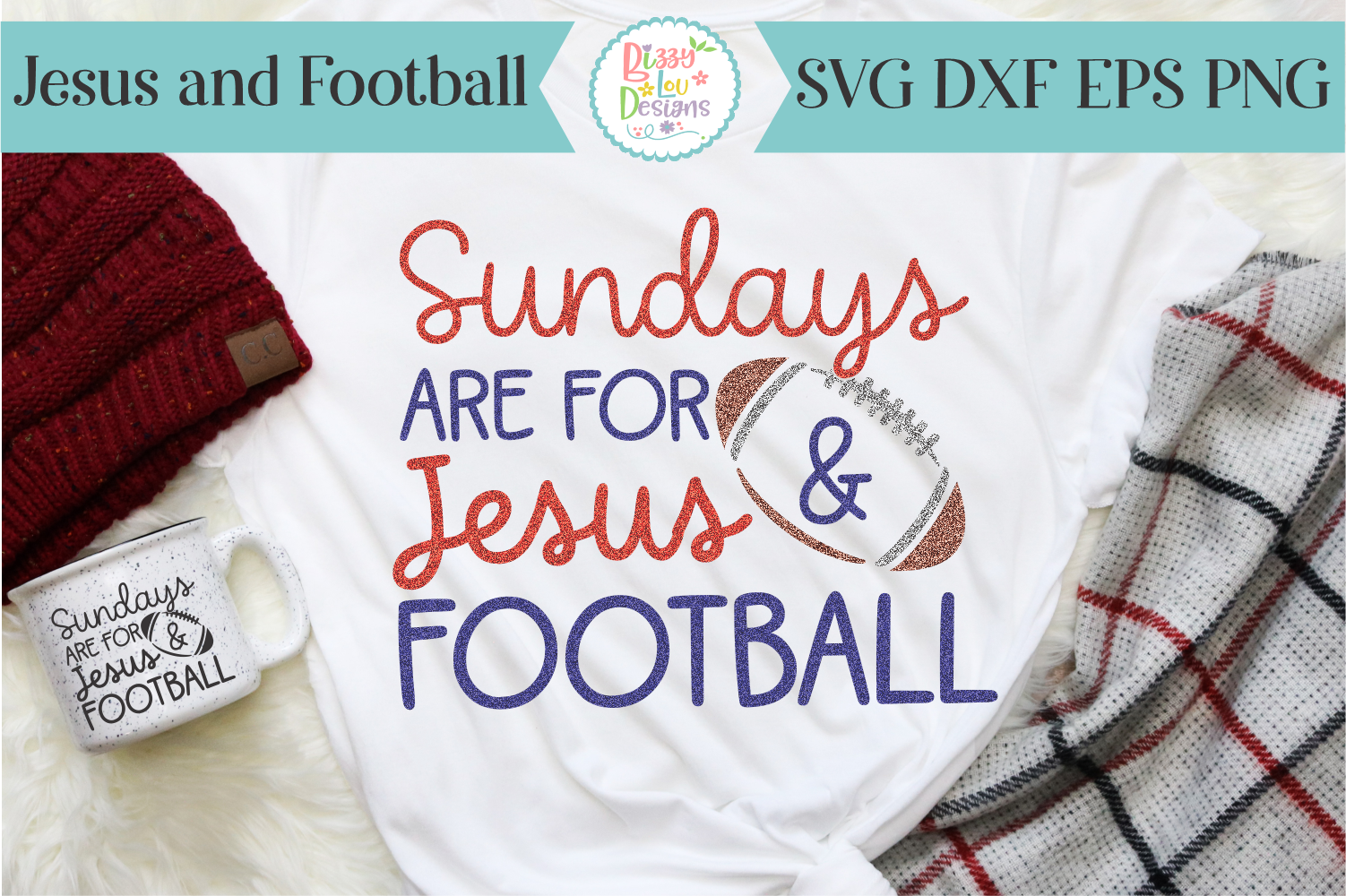 Sundays are for Jesus and Football SVG - Cutting File example image 1