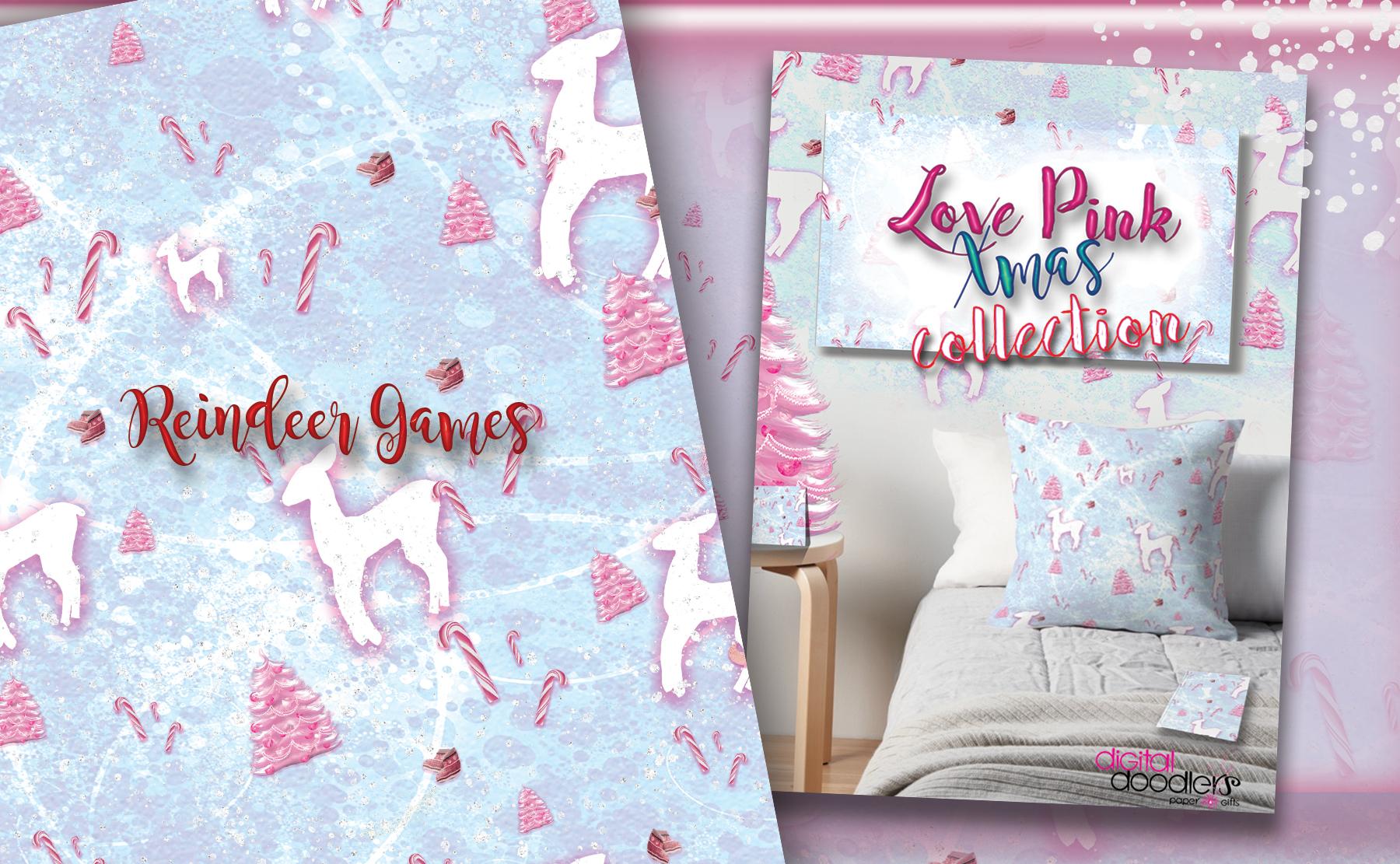 Love Pink Xmas Digital Paper example image 10