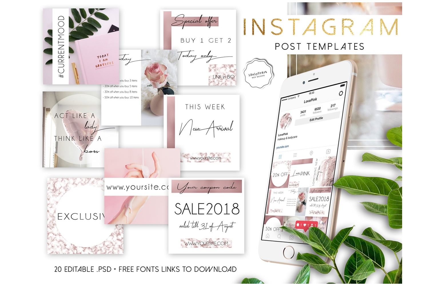 Rose Gold and Marble Instagram Posts Template PSD example image 1