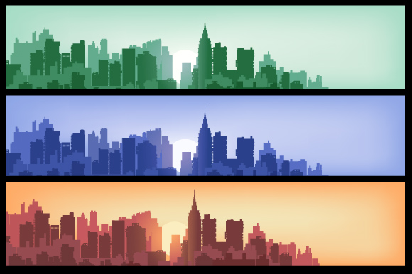 Set of city landscapes backgrounds  example image 4