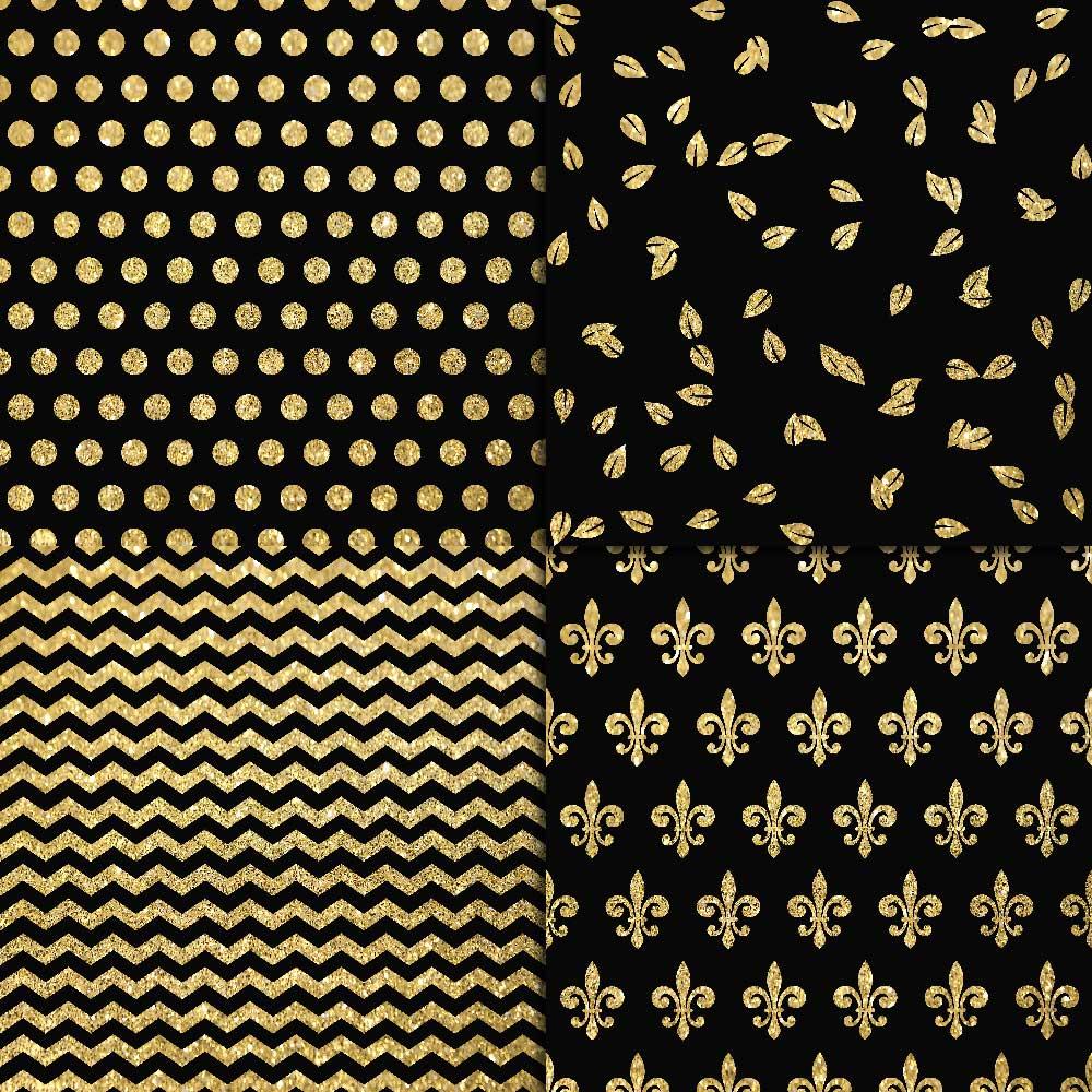 Gold Glitter & Black Digital Paper example image 3