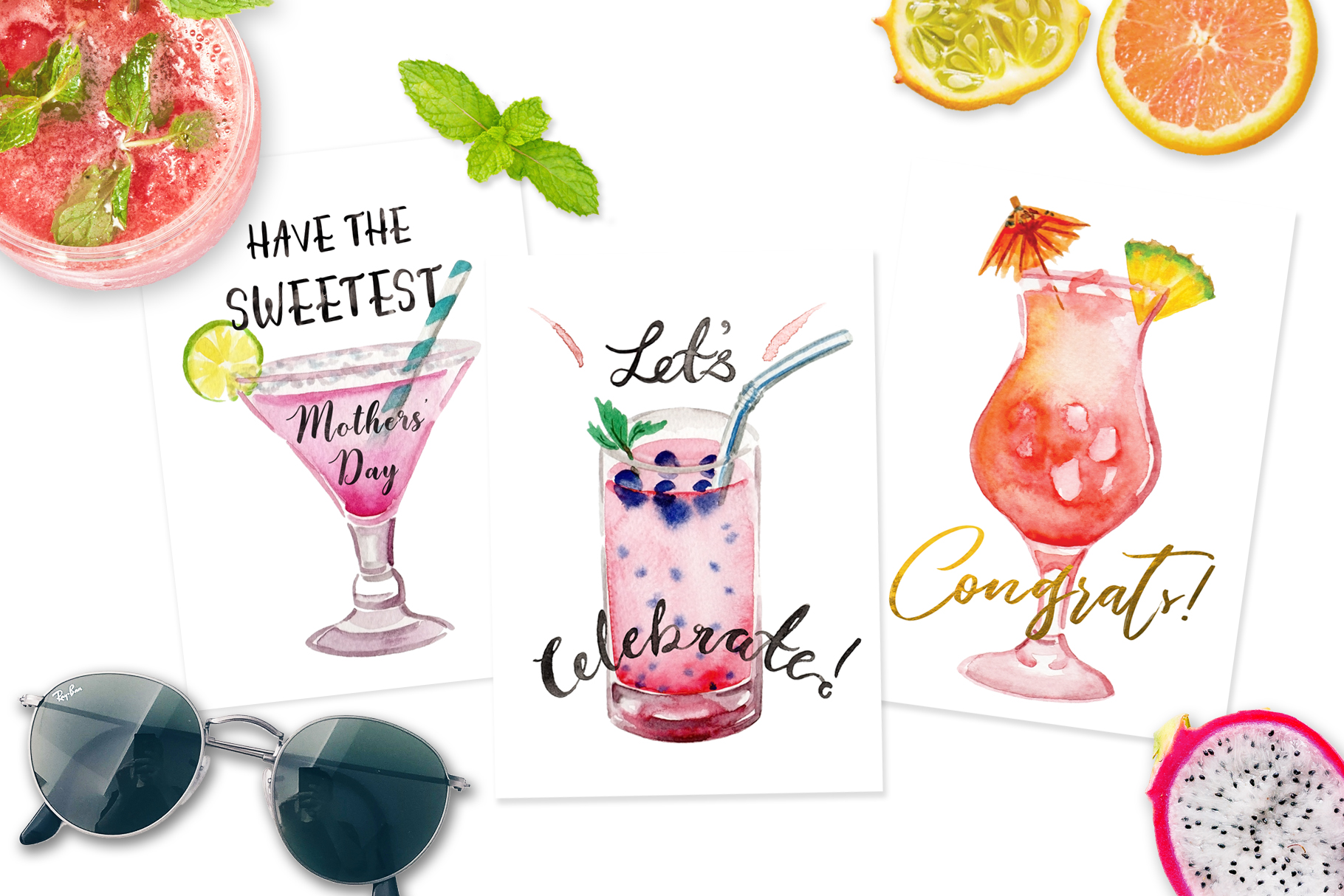 Island Cocktails Watercolor Clip Art example image 2
