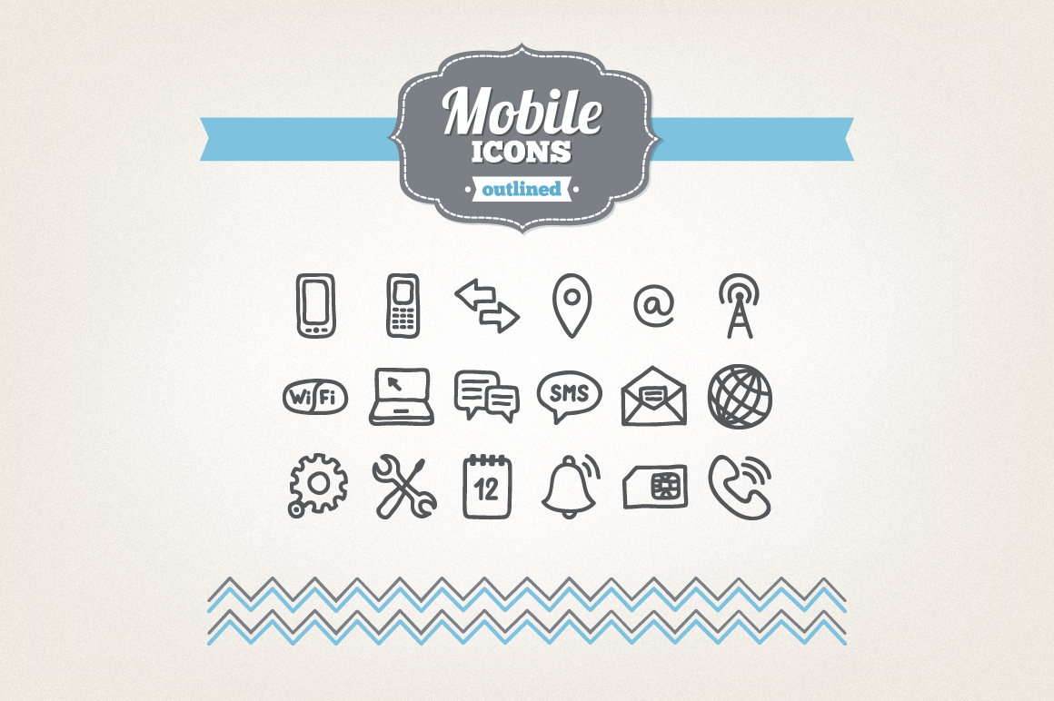 Hand Drawn Mobile Icons example image 1
