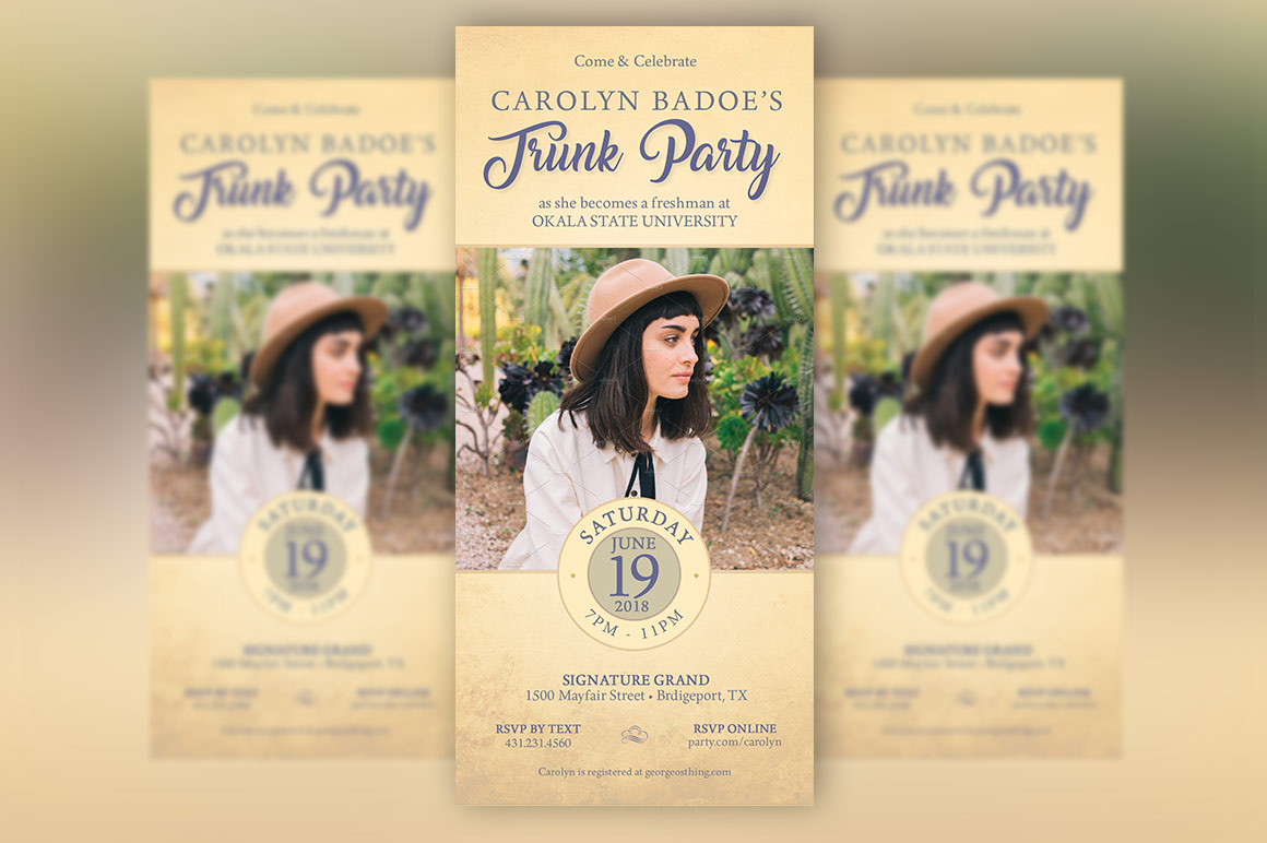 Retro Trunk Party Flyer Template example image 3
