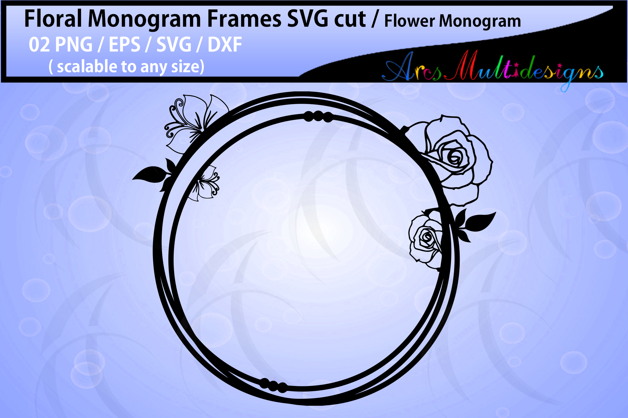 Floral Frames svg / Floral monogram frames / circle frames example image 2