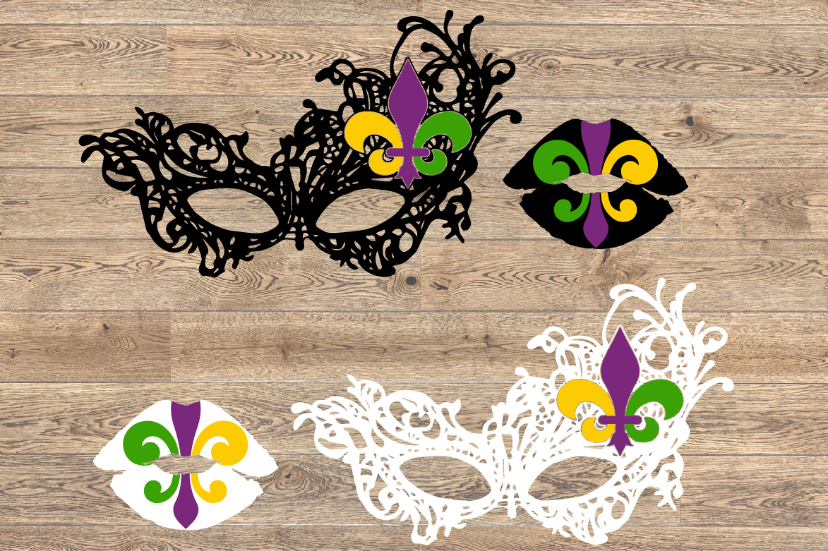 Mardi Gras Mask and Lips SVG Louisiana Fat Tuesday 1253S example image 2