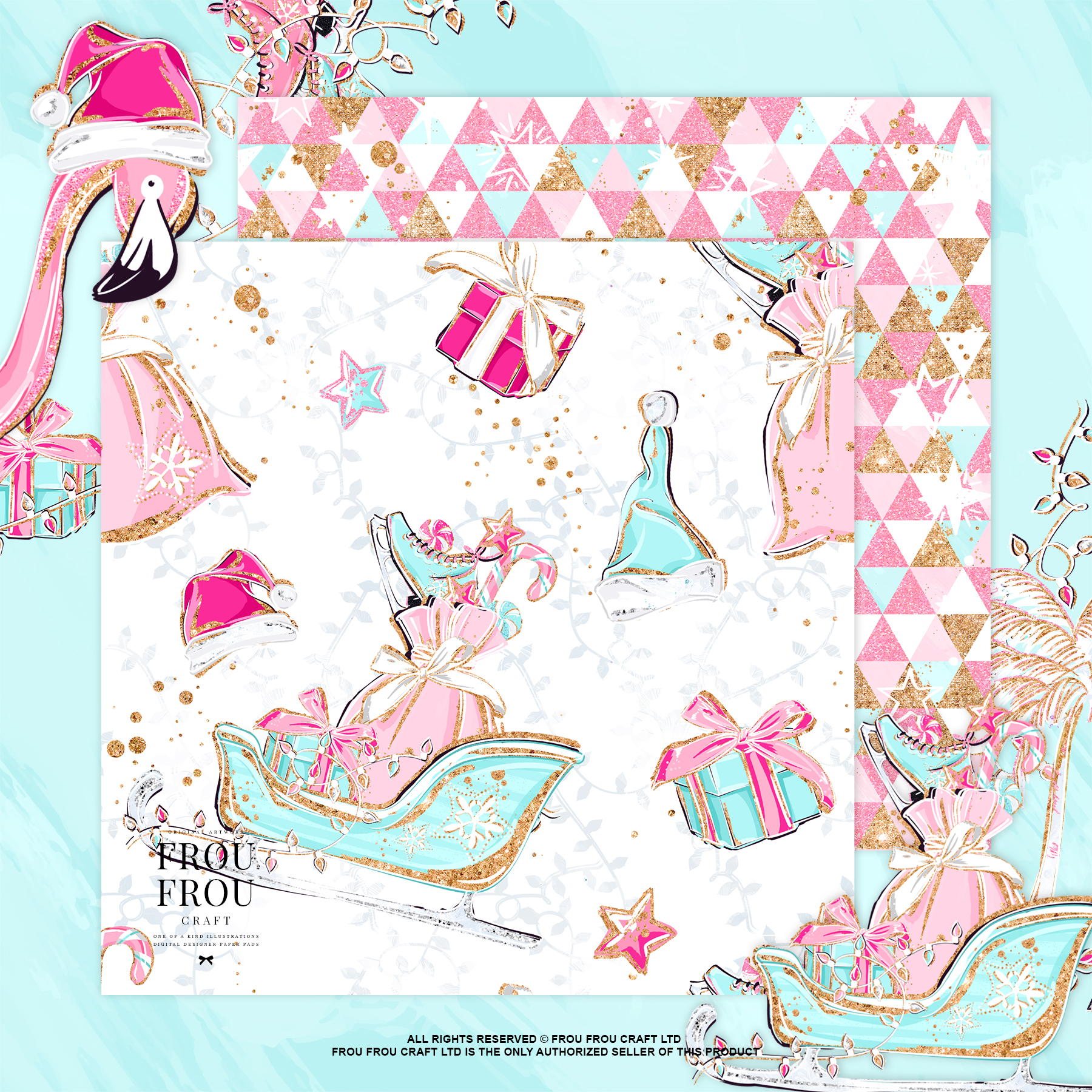Pink Flamingo Christmas Presents Glitter Paper Pack example image 9