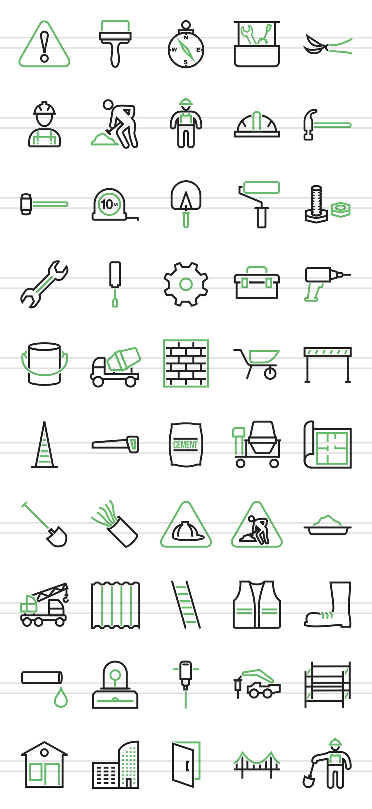 50 Construction Line Green & Black Icons example image 2