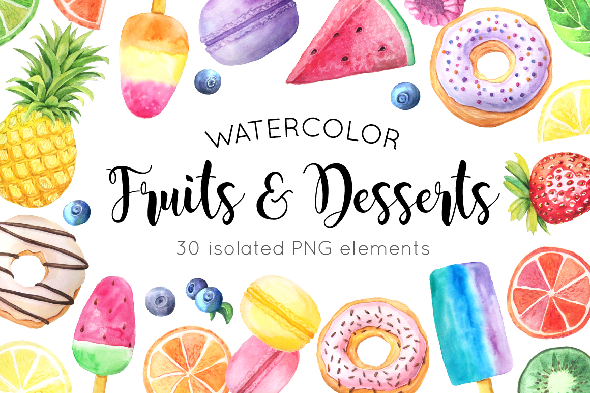 Watercolor Fruits&Desserts Set example image 1