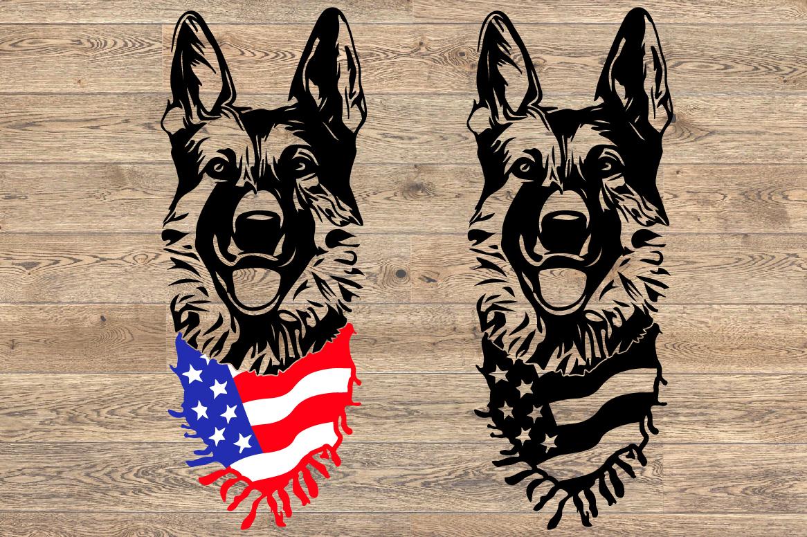 German shepherd dog head whit Scarf US flag SVG 1277s example image 2