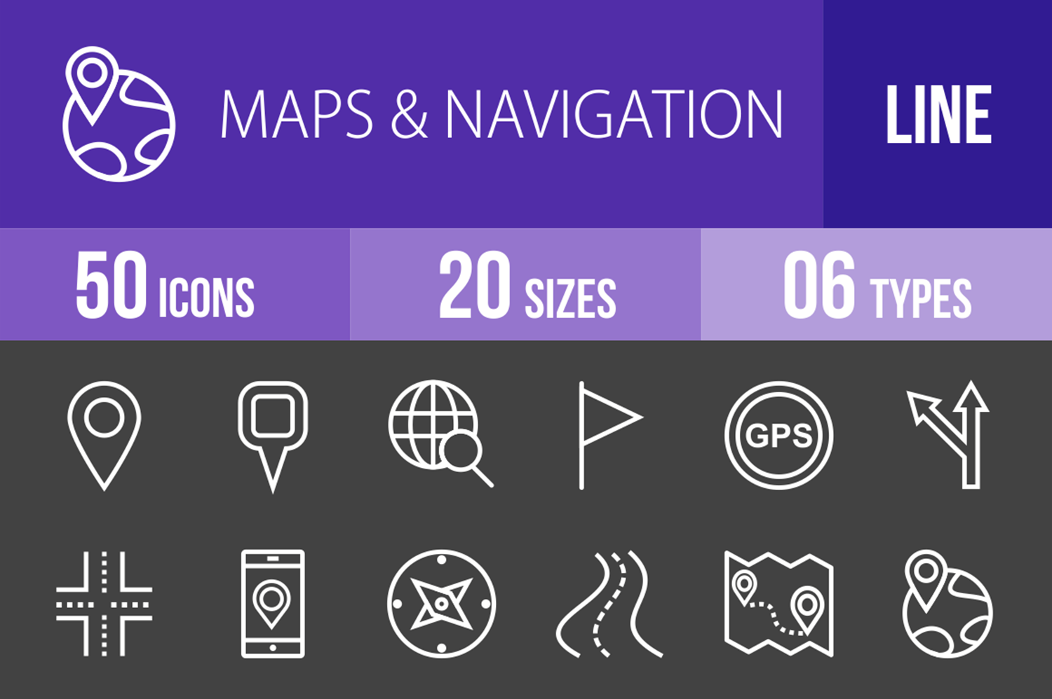50 Maps & Navigation Line Inverted Icons example image 1