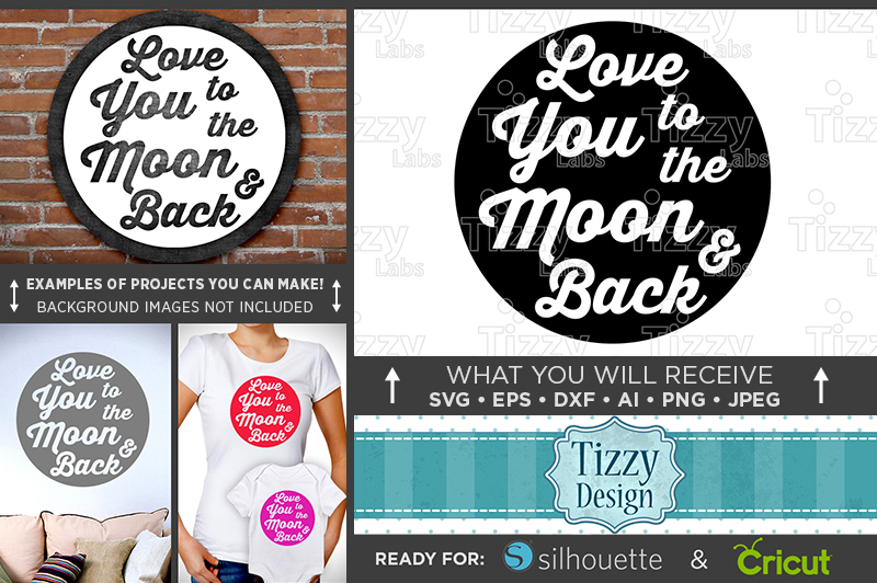Love You To The Moon And Back SVG Sign - Valentines - 1504 example image 1