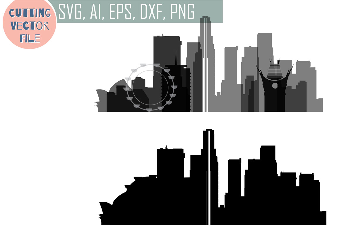 Los Angeles Vector, California Skyline USA city, SVG, JPG, PNG, DWG, CDR, EPS, AI example image 1