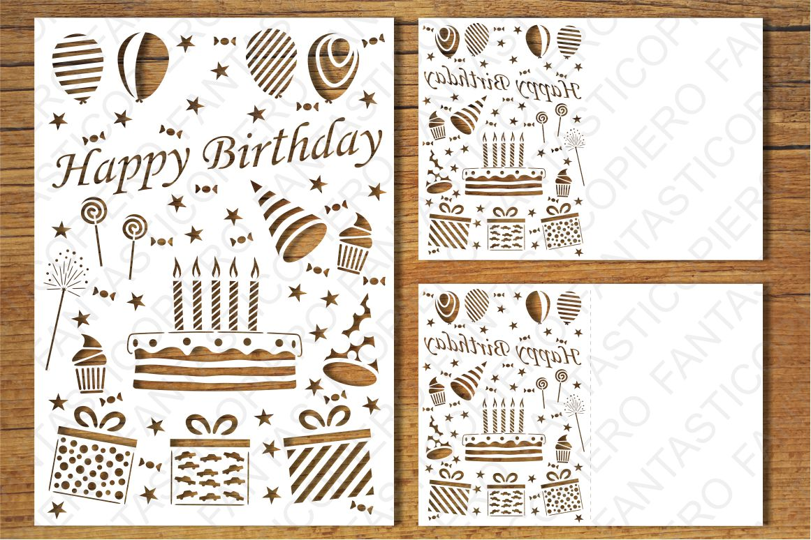 Download Happy Birthday 5 card SVG files for Silhouette and Cricut.