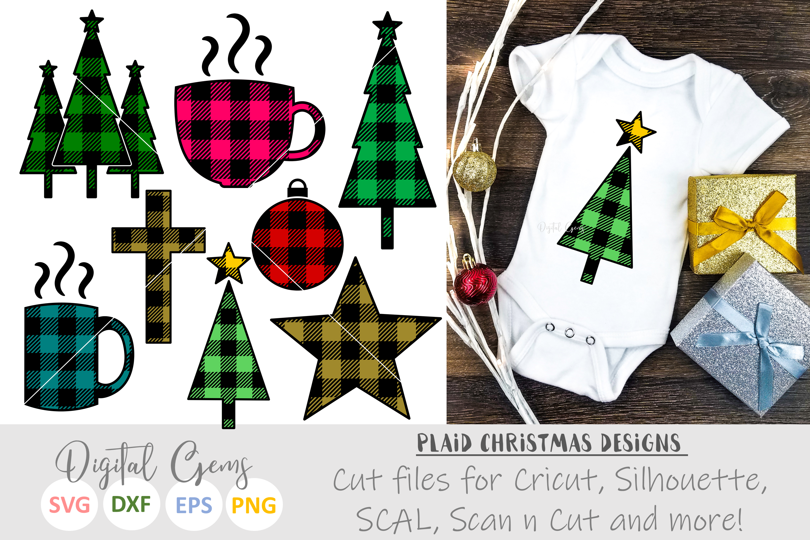 Plaid Christmas designs. SVG / PNG / EPS / DXF files example image 1