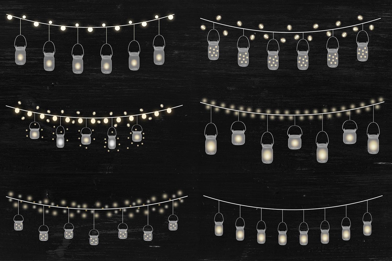String Lights Clipart, Mason Jar Lights Overlays example image 2
