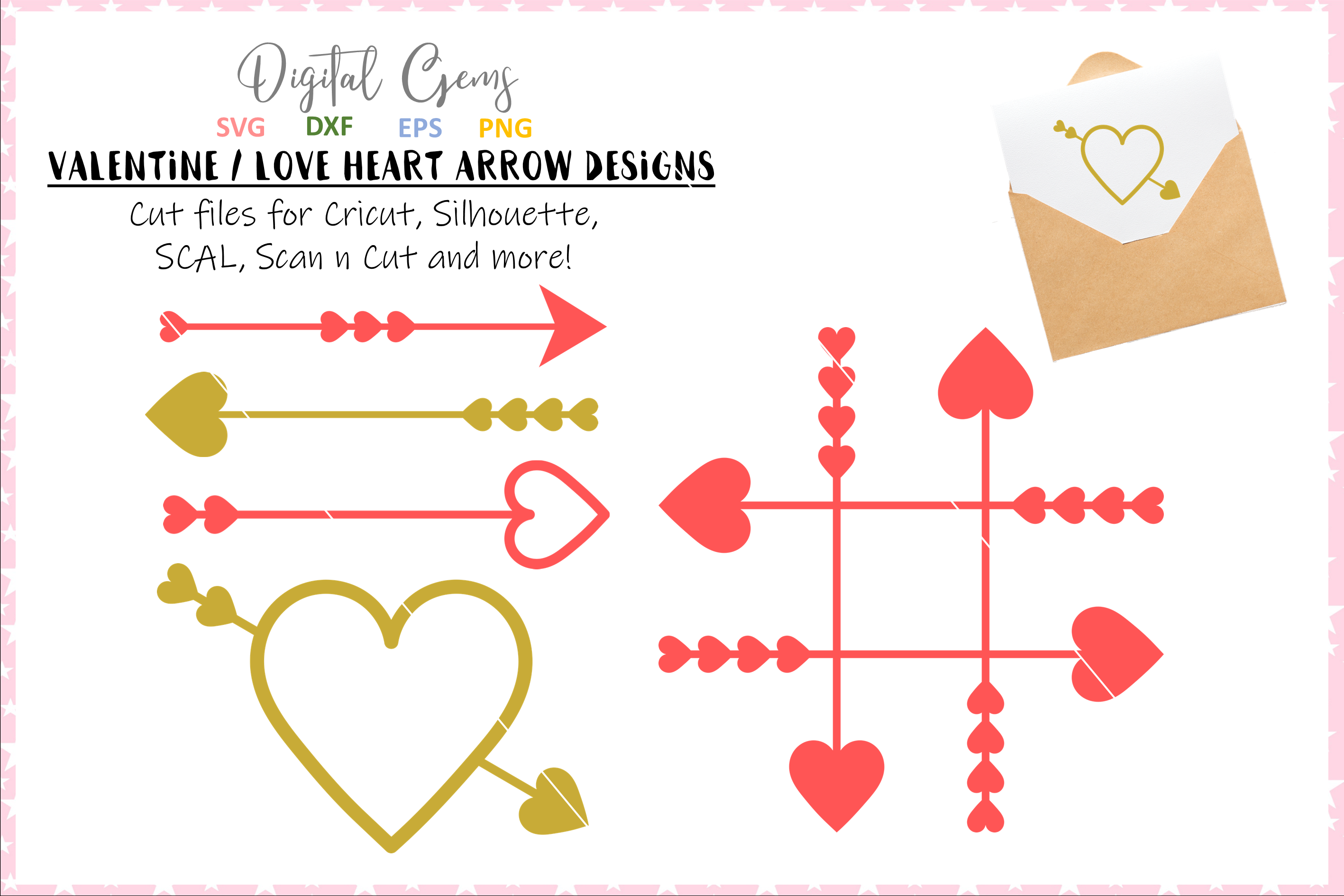 Hearts arrows / Valentines SVG / PNG / EPS / DXF Files example image 1