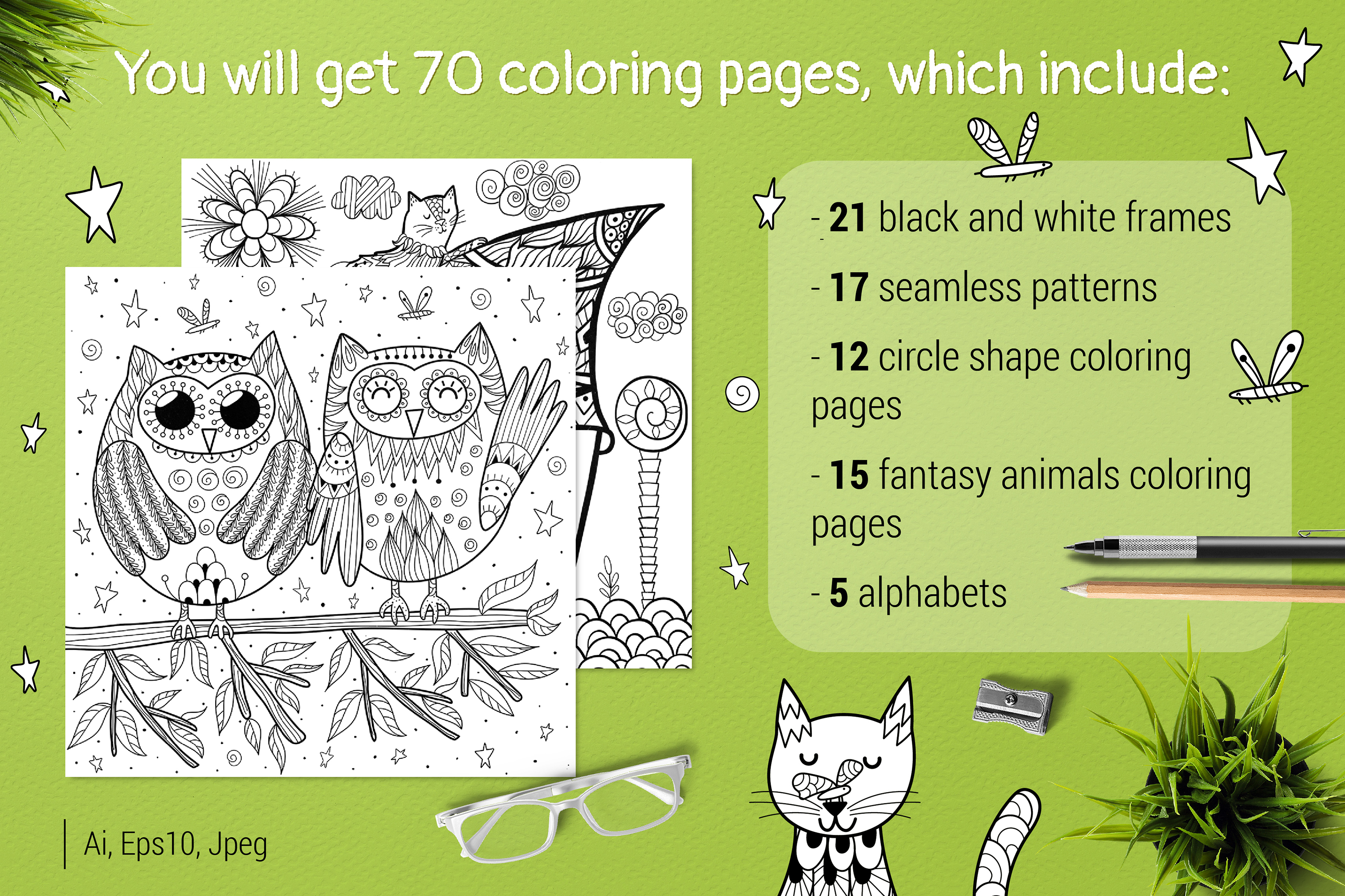70 Coloring Pages Amazing Animals example image 3