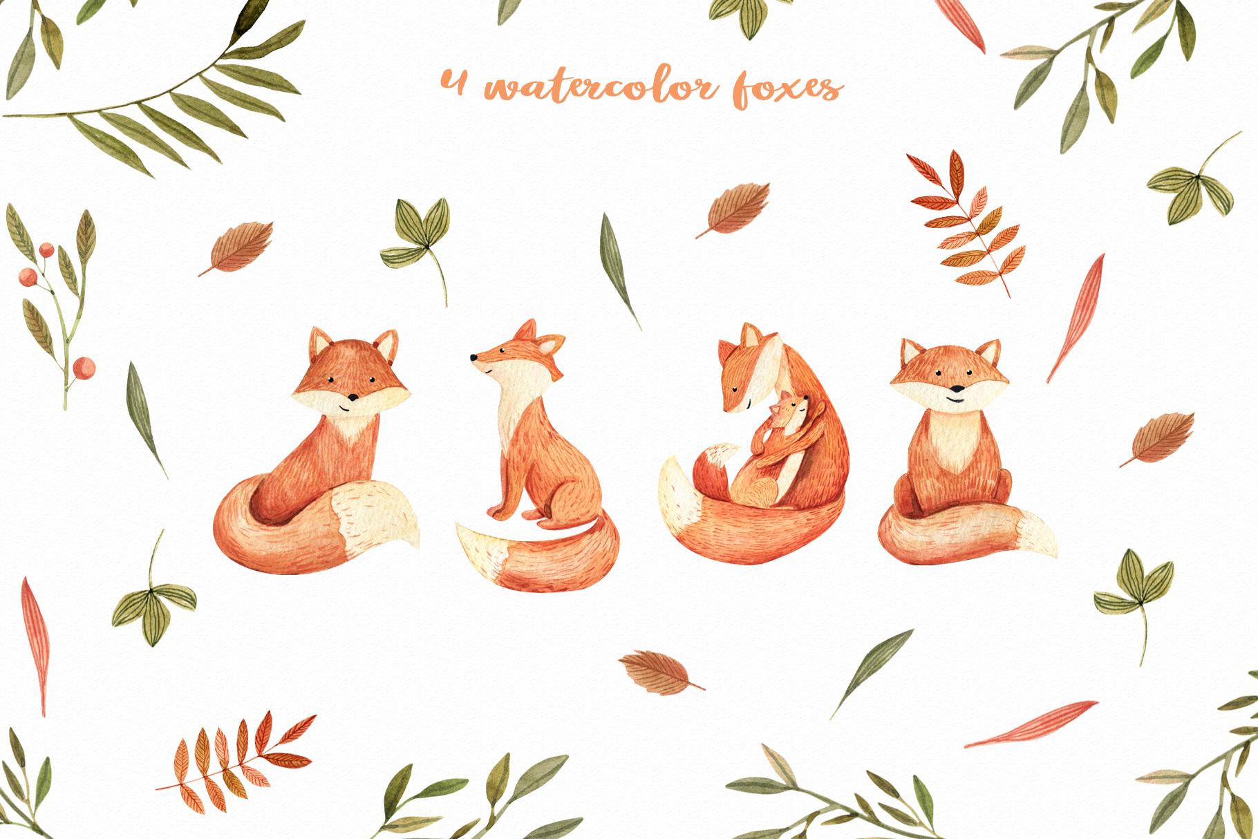 Watercolor Autumn Fox example image 5