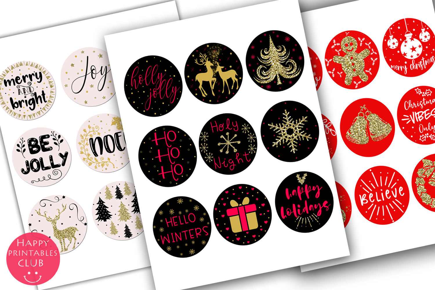 Cute Christmas Round Stickers- Holiday Round Stickers example image 5