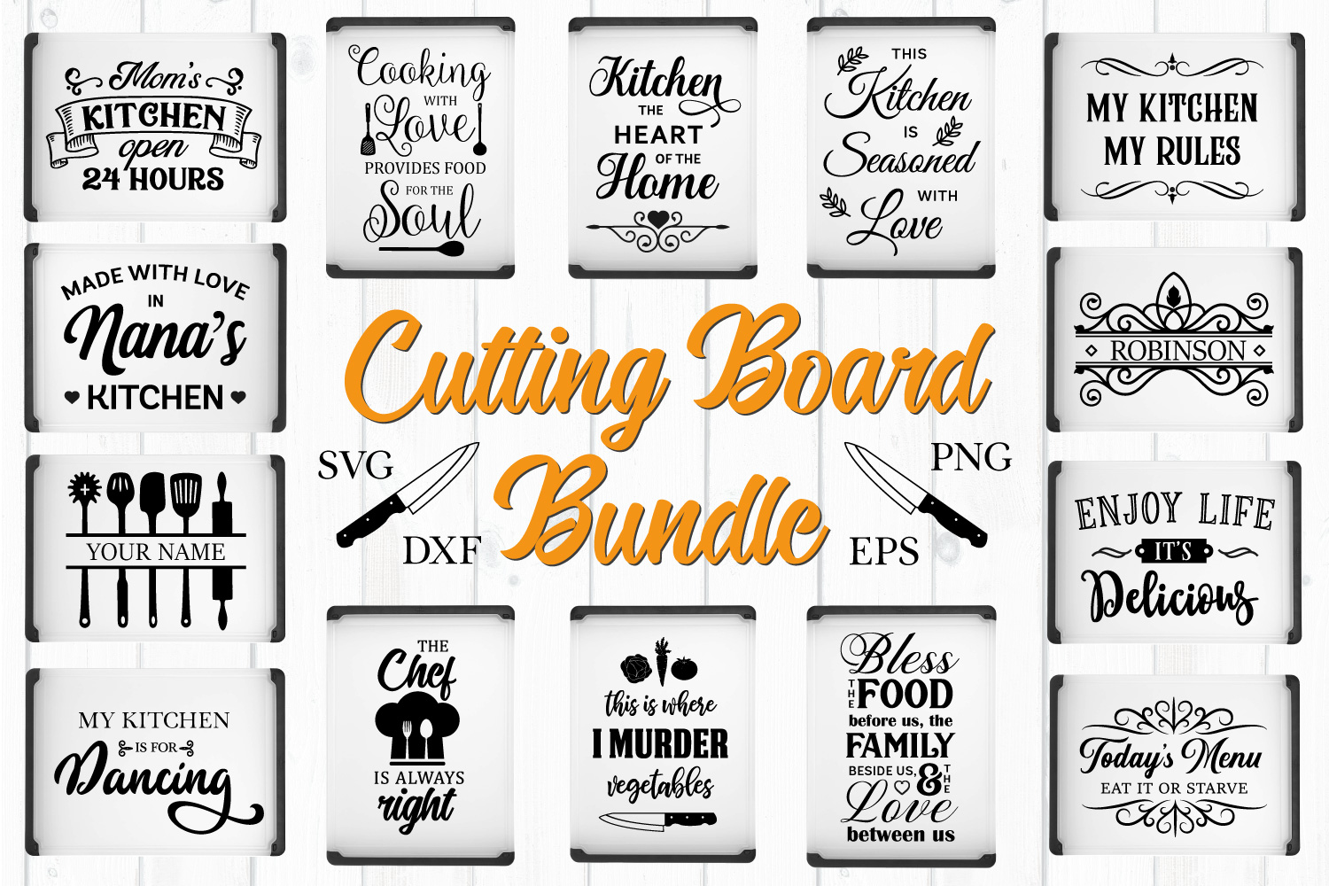 Cutting Board Quotes Bundle - SVG, PNG, DXF, EPS example image 1