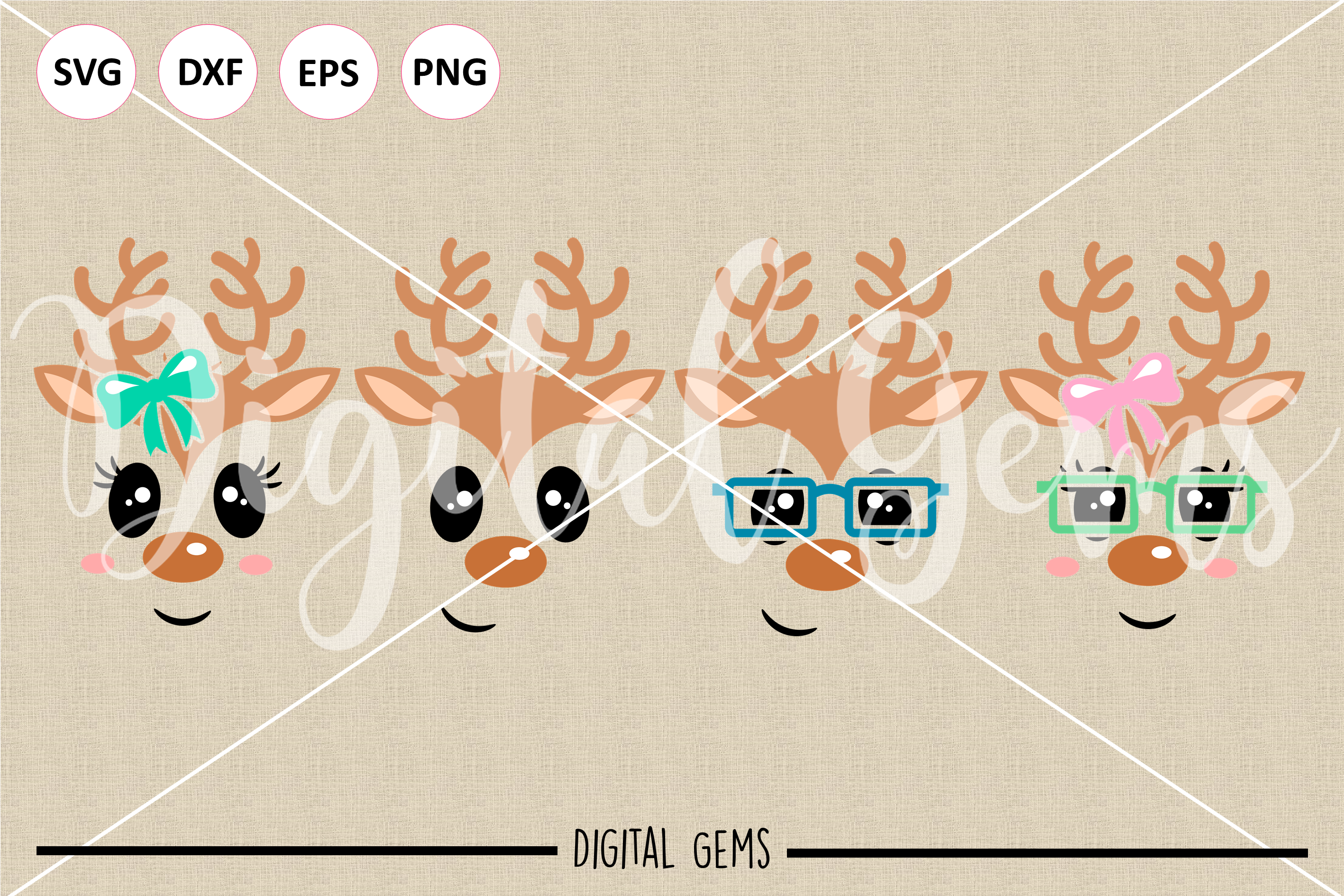 Reindeer SVG / DXF / EPS / PNG files example image 2