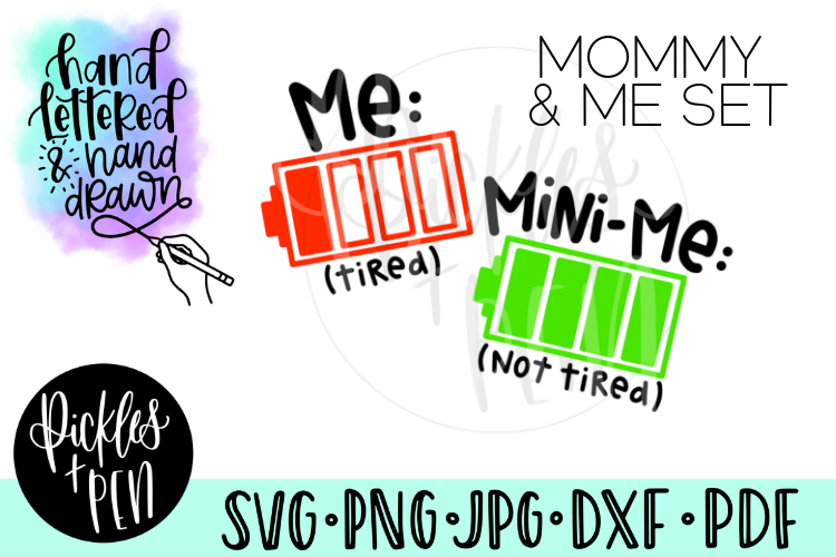 Mommy and Me Battery Tshirt Design Set - Mom SVG example image 1