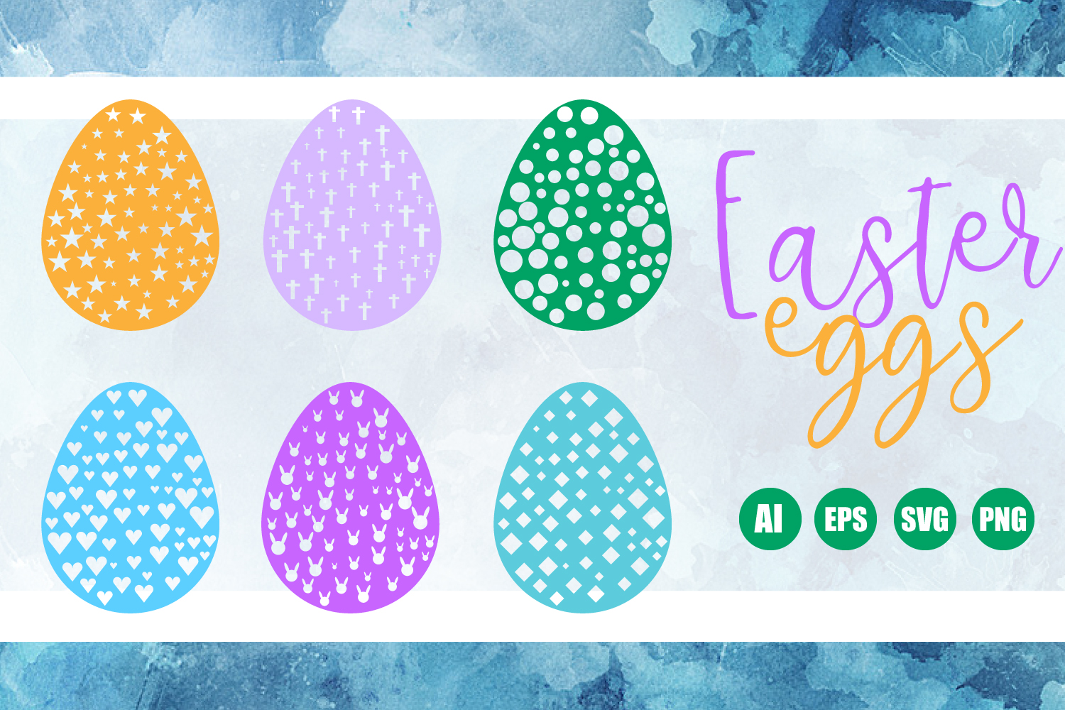 6 Paper Cut Easter Eggs SVG, EPS, AI, PDF, PNG example image 1