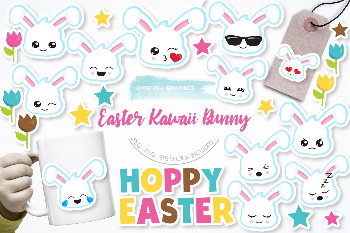 Easter Kawaii Bunnies graphics and illustrations example image 1