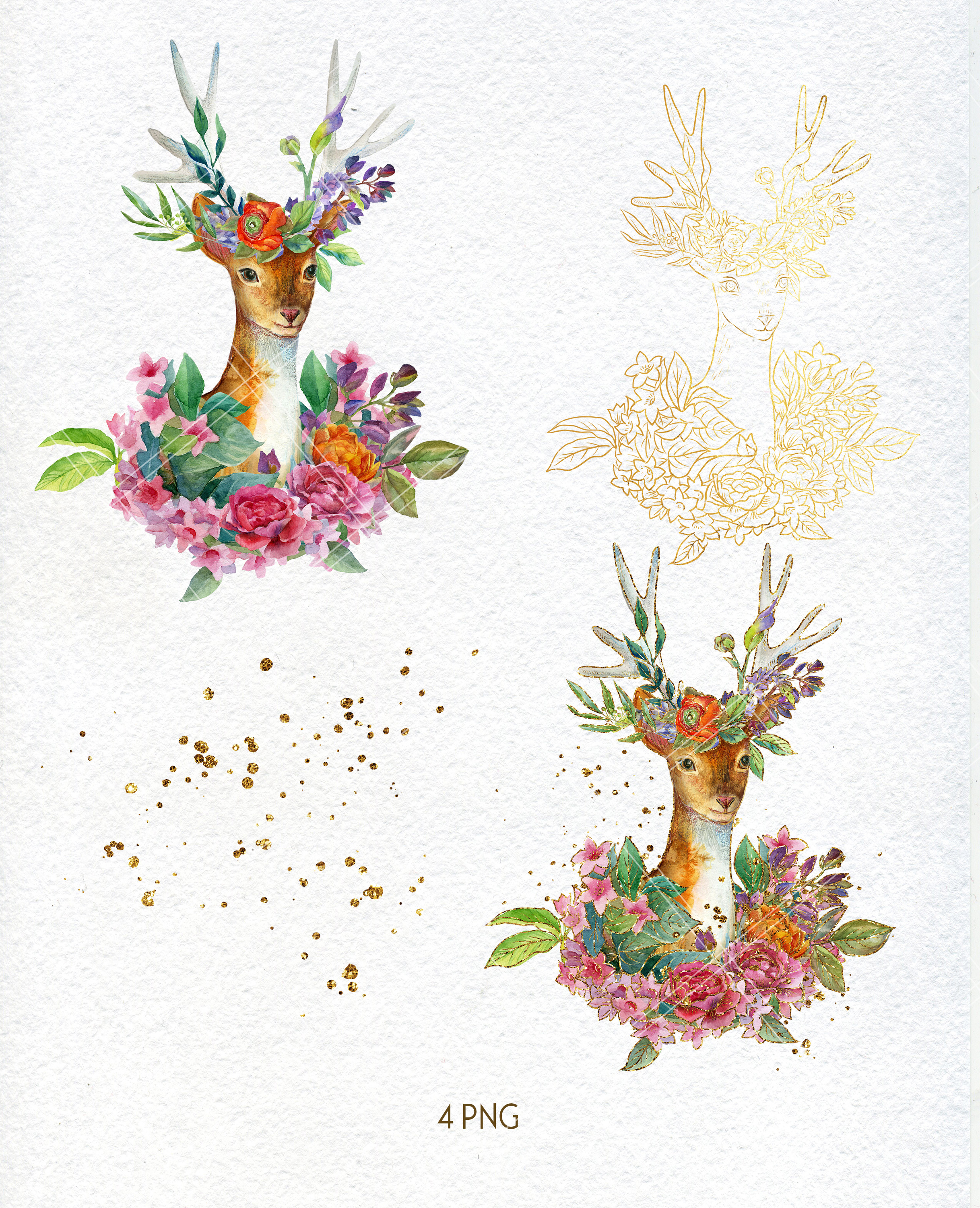 Watercolor floral deer printable clipart, golden graphics example image 2