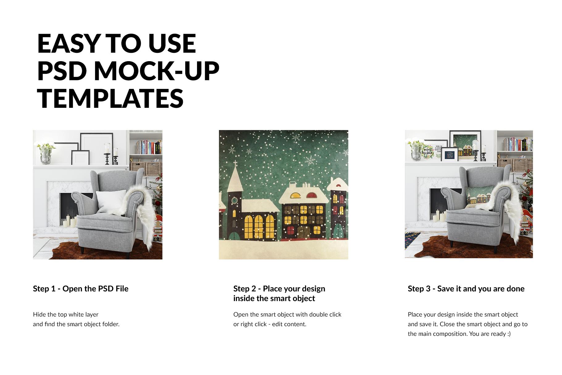 Christmas Living Room - Pillow & Frames Set example image 3