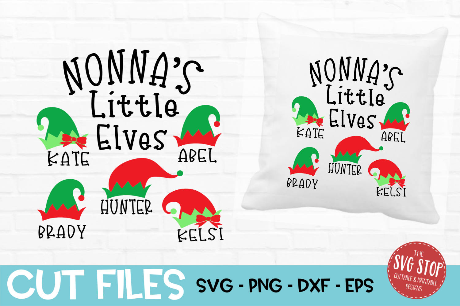 Nonna Little Elves Christmas SVG, PNG, DXF, EPS example image 1