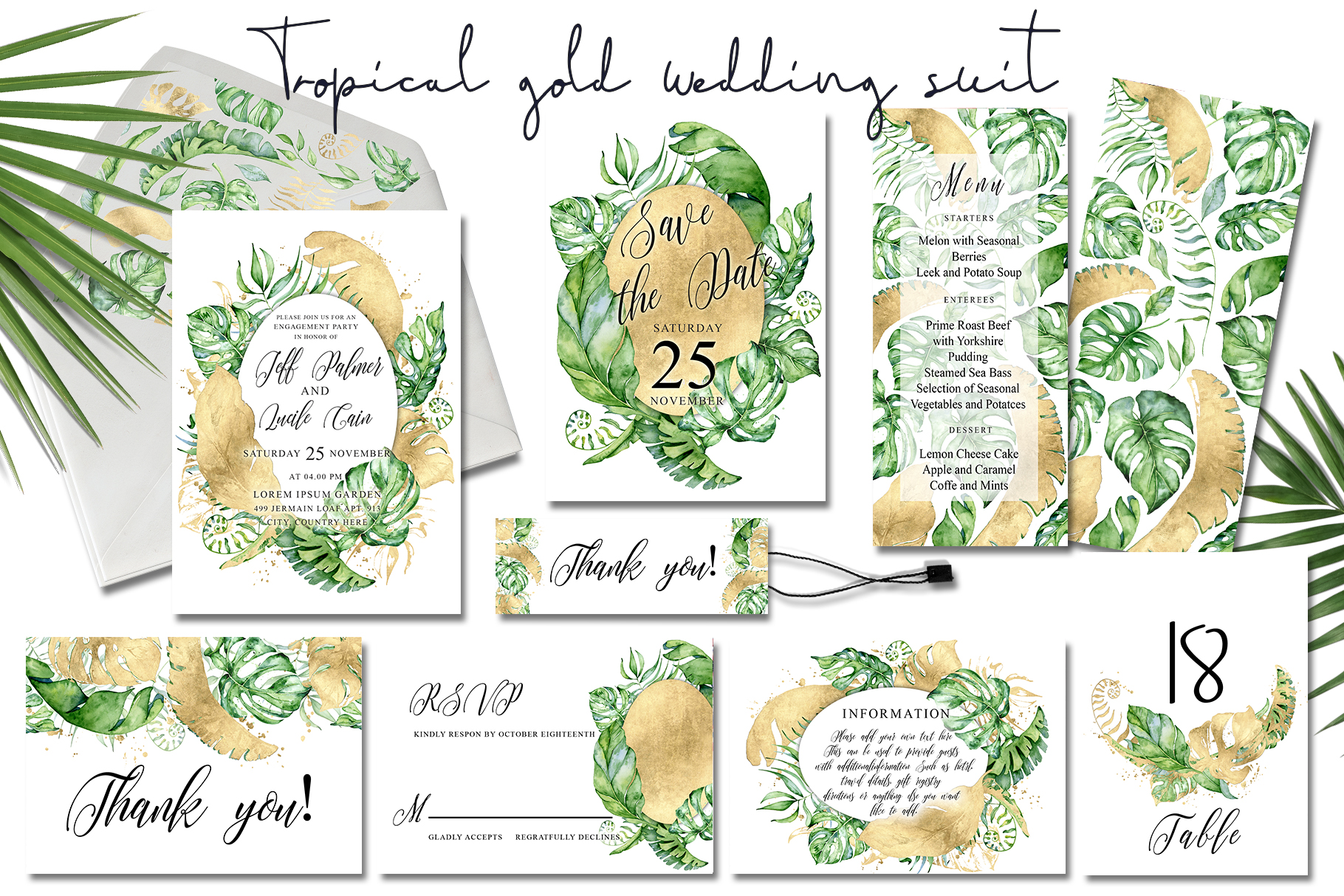Tropical gold wedding invitation suit example image 1