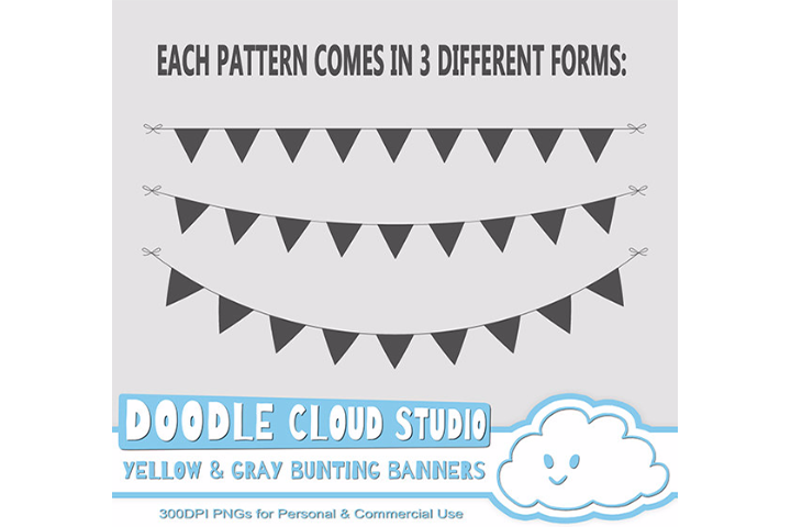 Yellow & Gray Patterns Bunting Banners Cliparts Pack, pattered flags, transparent Background, Instant Download, Personal and Commercial Use example image 3