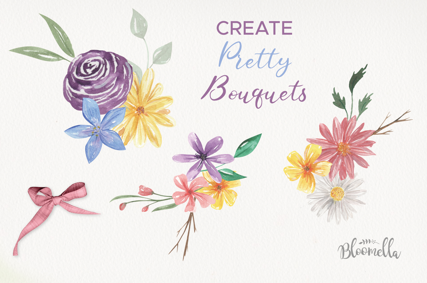 Blooms Allura Pretty Watercolor 20 Floral Elements Buds example image 2
