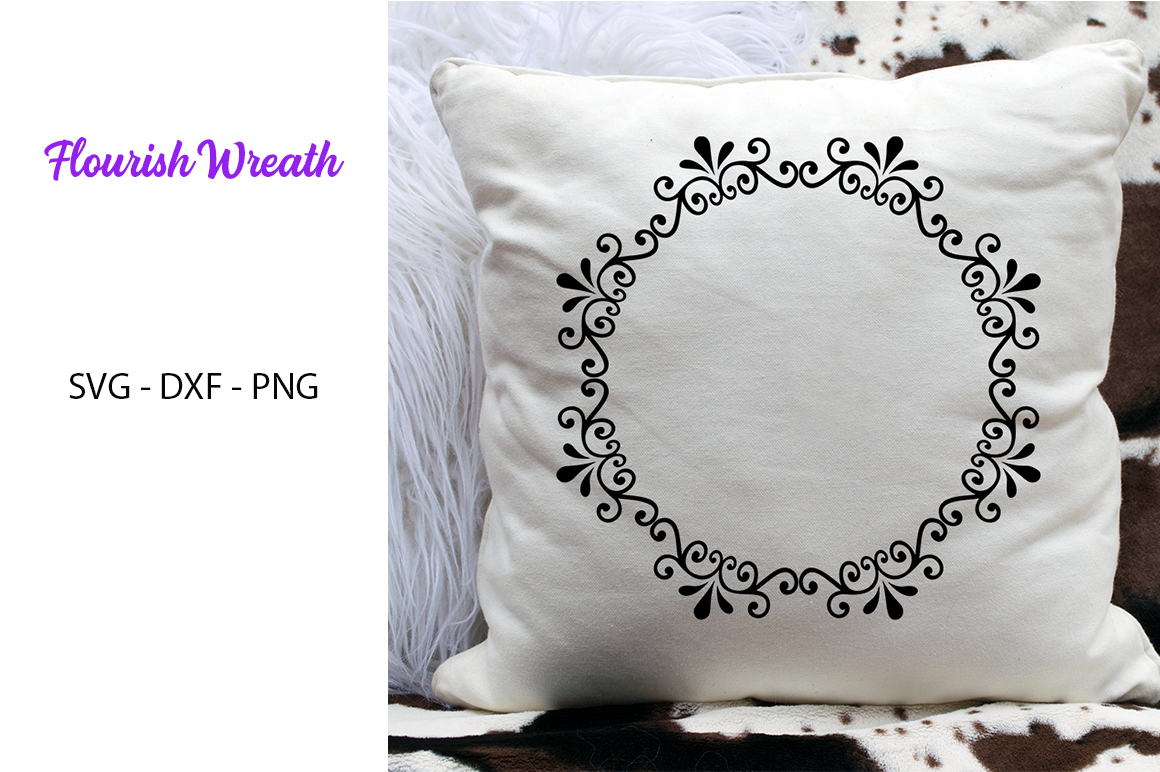 Flourish Wreath- SVG DXF PNG- For Crafters example image 1
