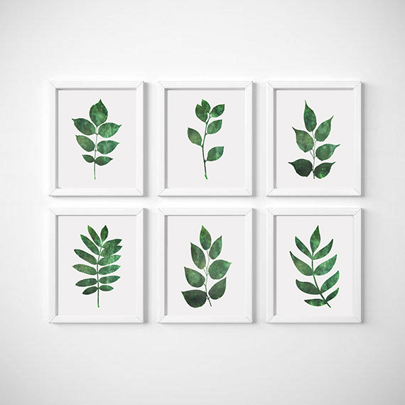 Leaf Wall Art, Set Of 6 Prints, Botanical Print, Leaf Wall Decor, Botanical  Art Set, Set of 6 Wall Art, Botanical Poster, Green Leaf Print