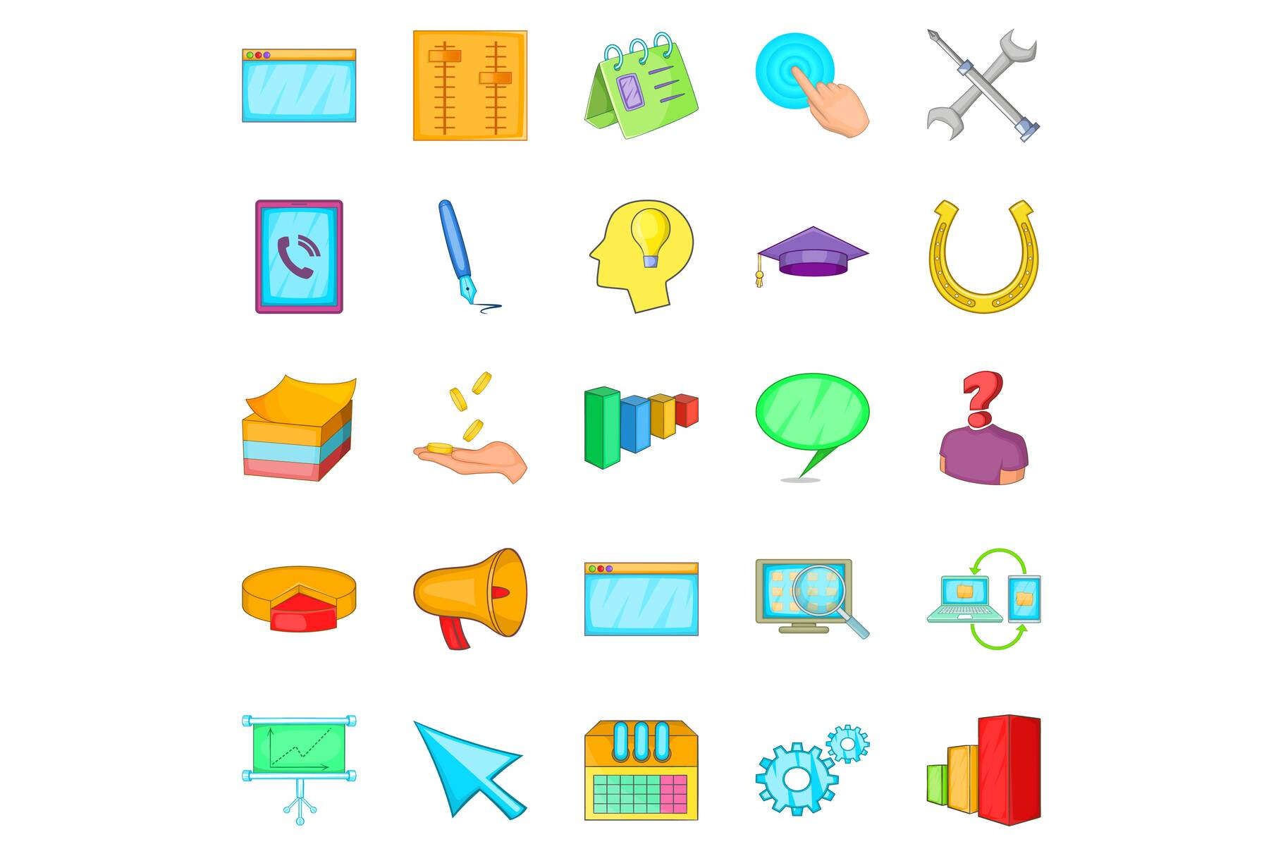 Business group icons set, cartoon style example image 1