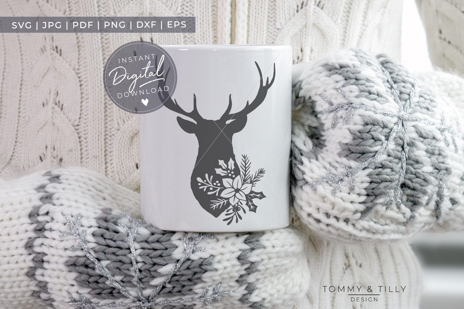 Stag Head No.1 - SVG EPS DXF PNG PDF JPG Cut File example image 2