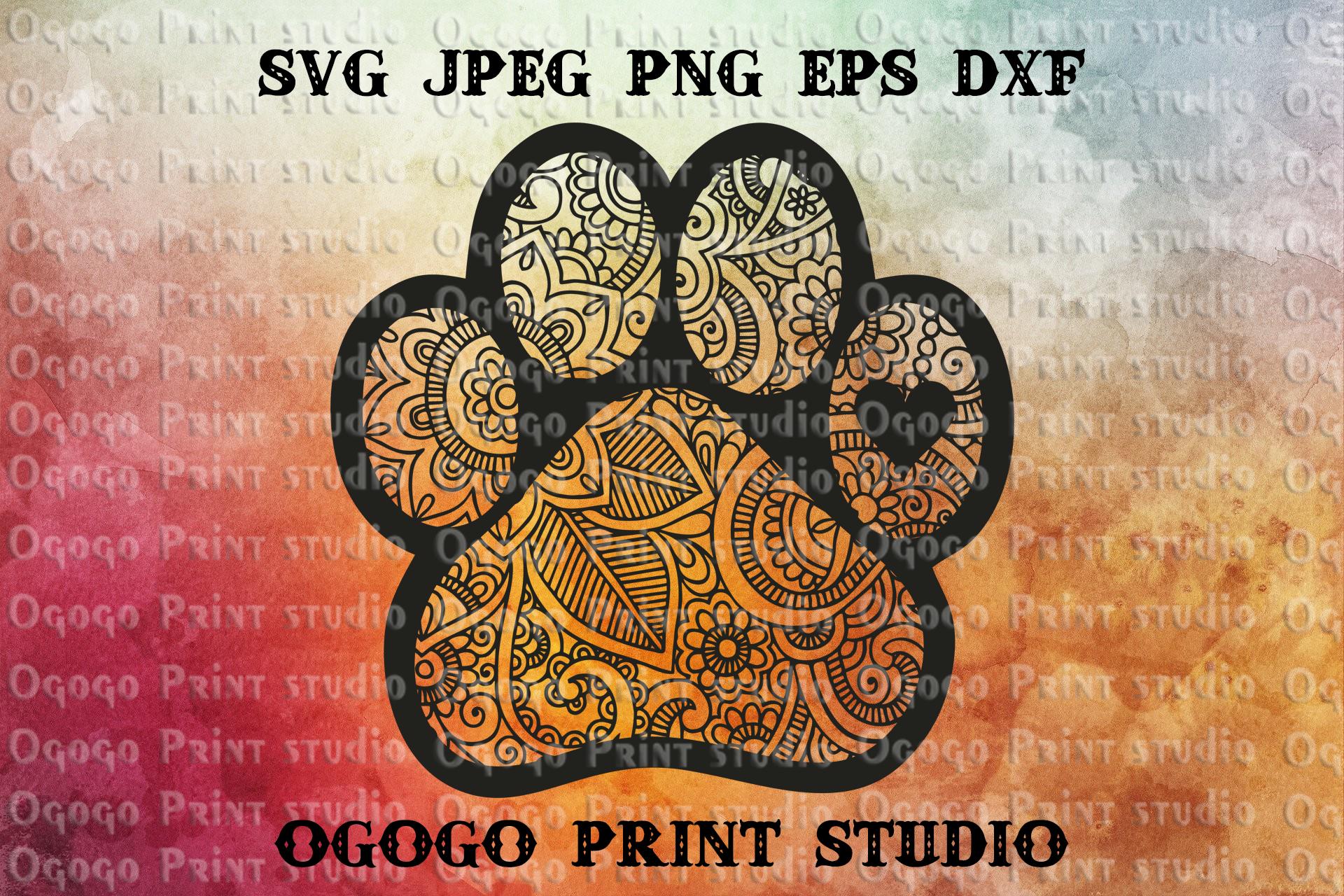 Mandala svg, Dog paw Svg, Zentangle SVG, PAW Patrol Svg, Pet example image 1