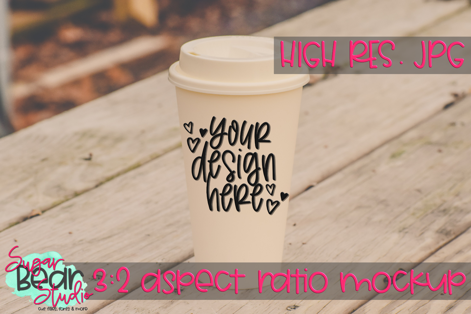 Travel Cup on a Picnic Table Mockup example image 1