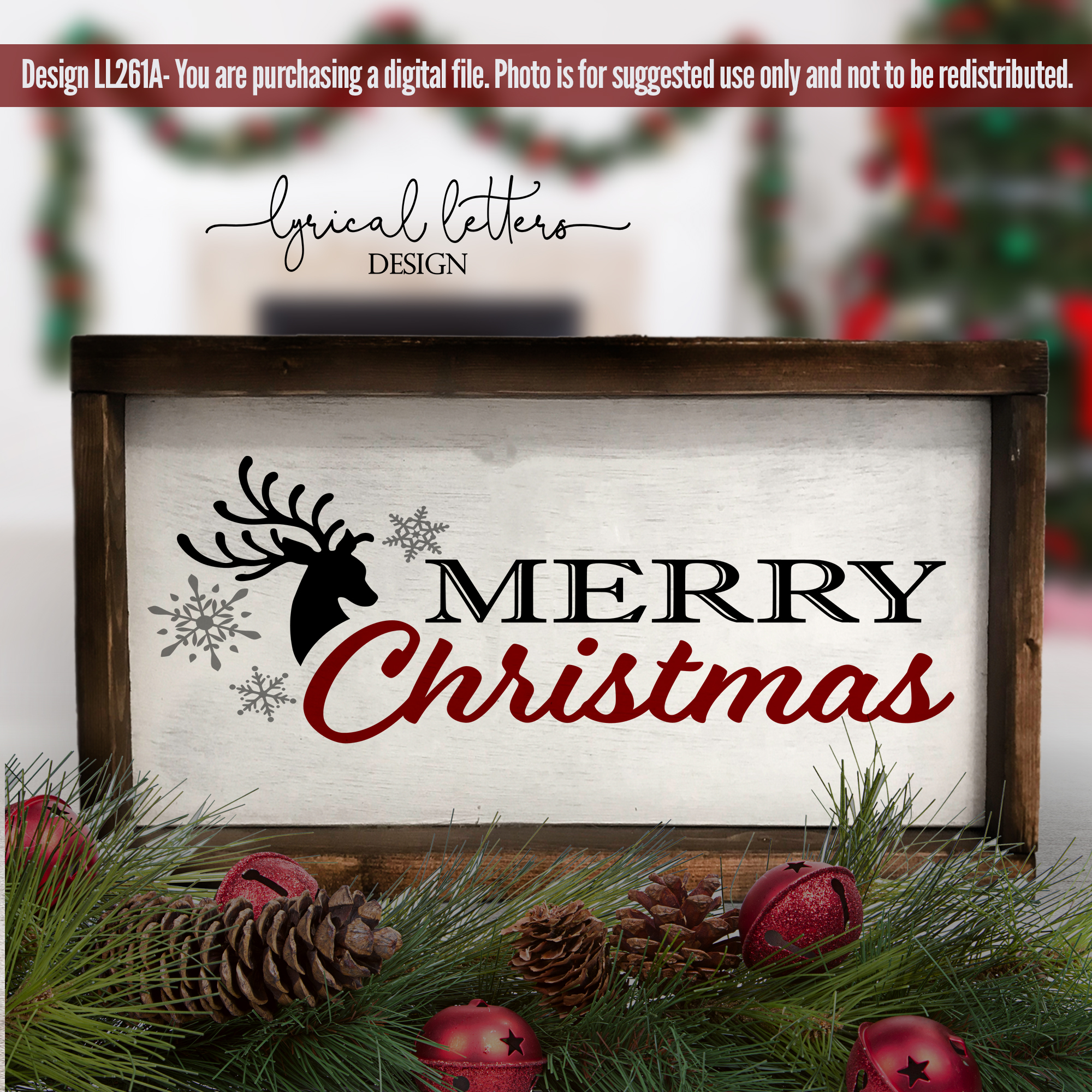 Red and Black Christmas Bundle of 5 SVG DXF Cut Files L example image 4