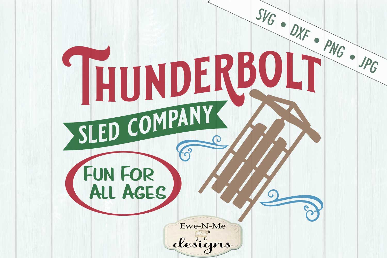 Thunderbolt Sled Co - Christmas - Winter - SVG DXF Files example image 2