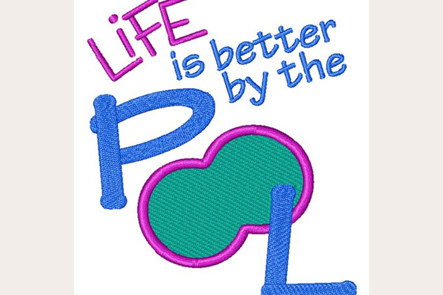 Life Is Better By The Pool -Machine Embroidery Design example image 1