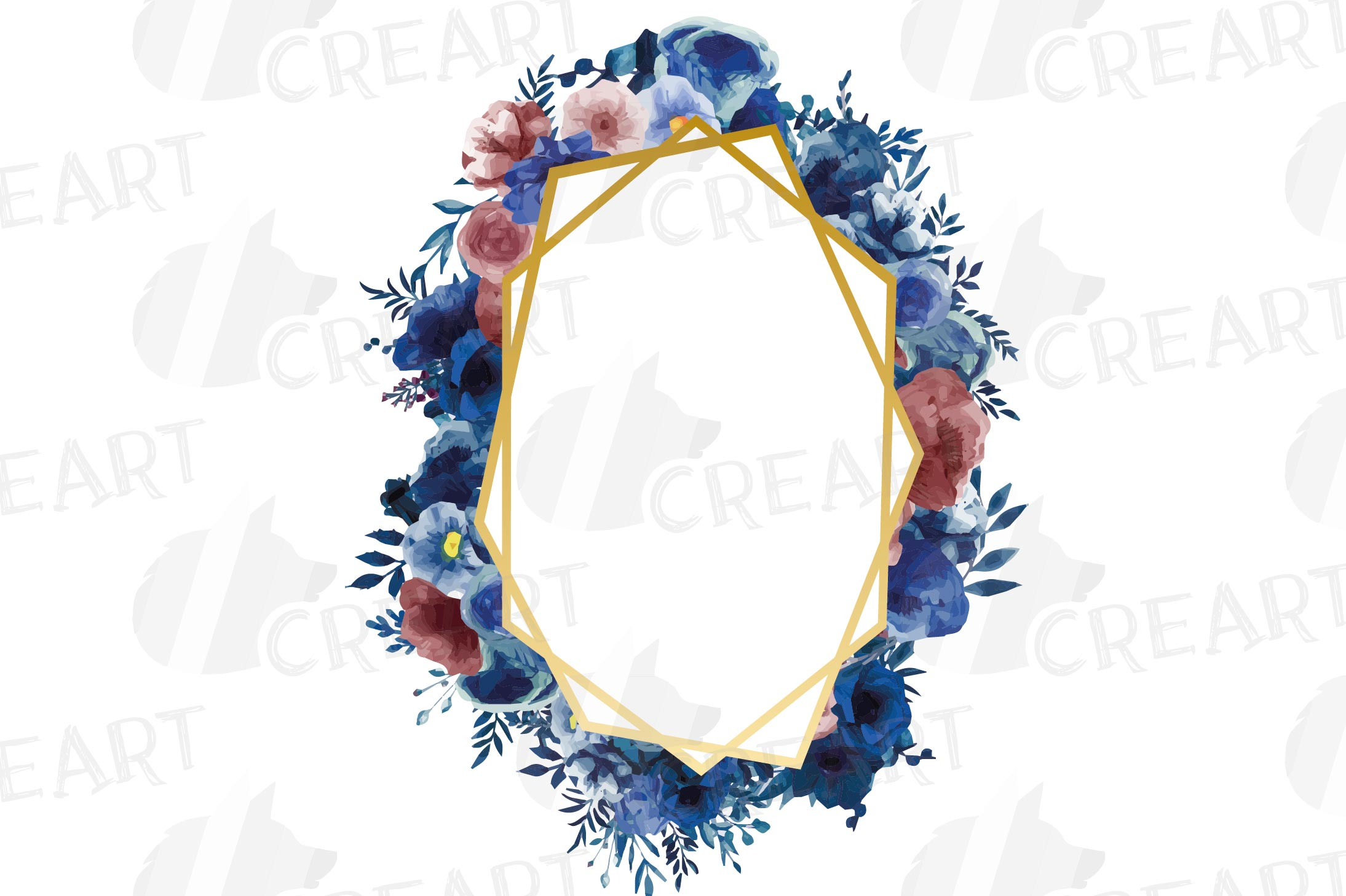 Watercolor elegant navy blue and blush floral borders vector example image 4