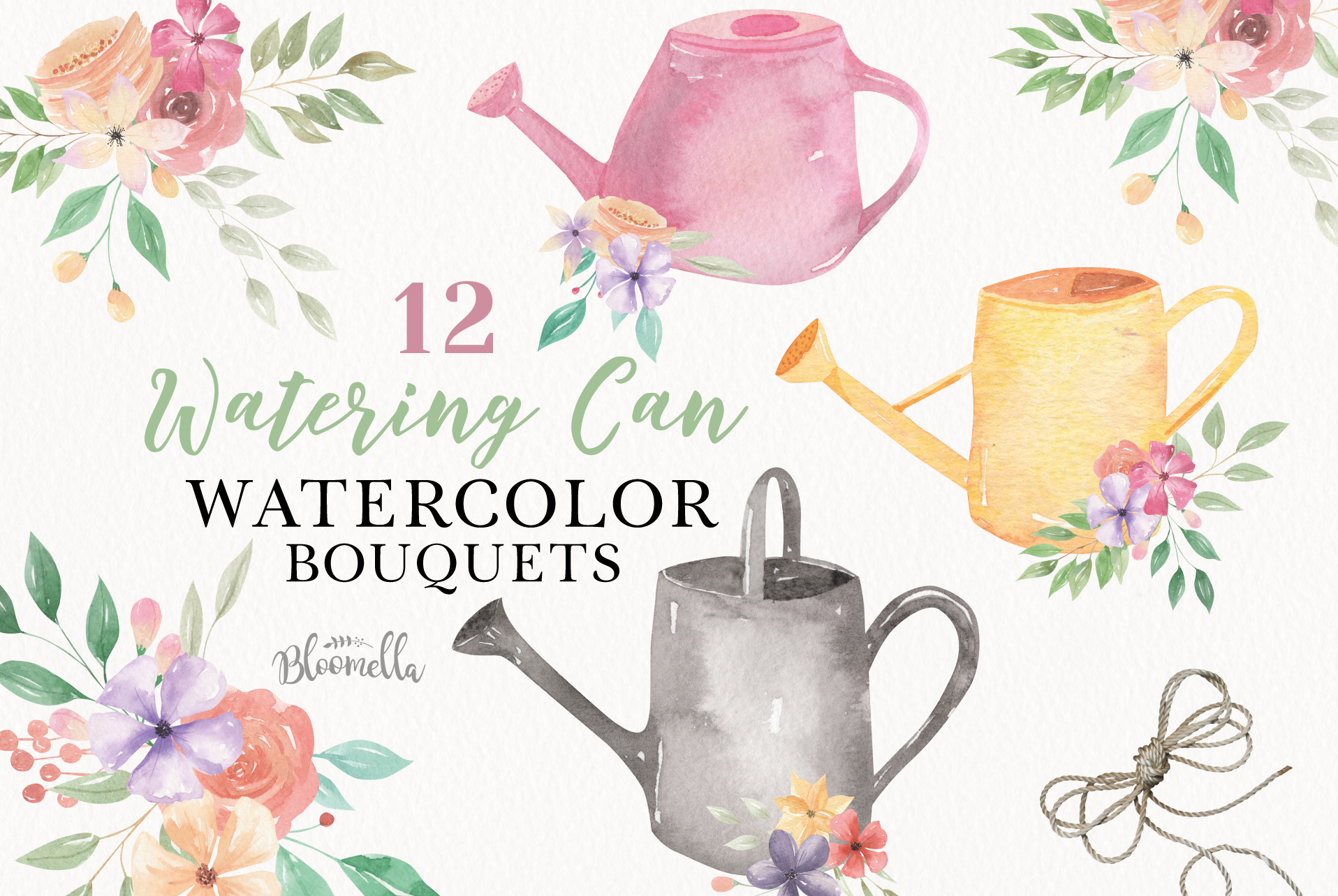 Watering Can Watercolor Floral Spring 12 Bouquets Spring example image 1