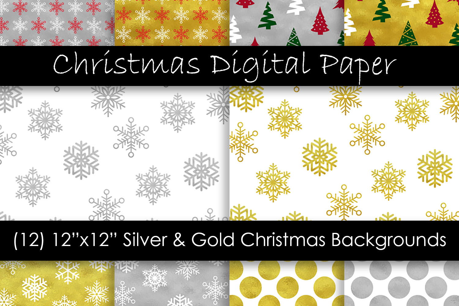 Gold & Silver Christmas Digital Paper - Snow Backgrounds example image 1