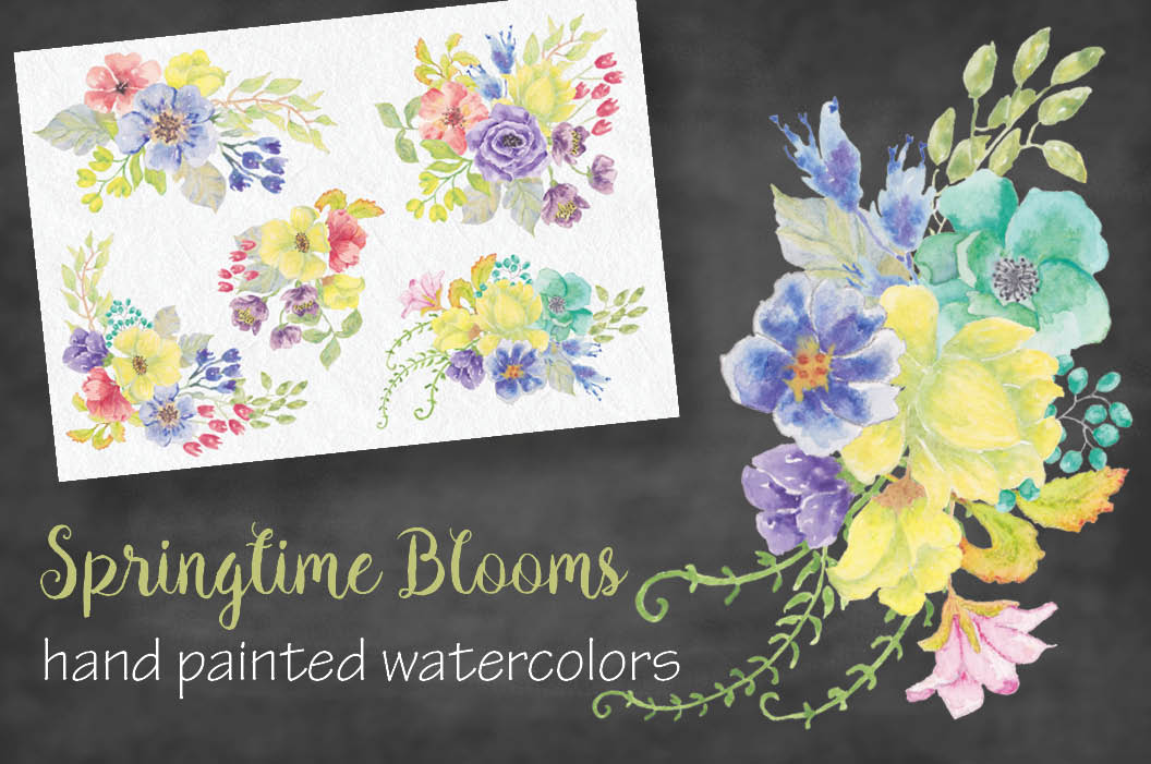 Watercolor sprays of bright spring flowers example image 1
